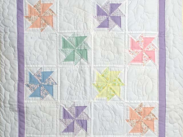 Pastel Lavender and Multicolor Pinwheels Crib Quilt Photo 2