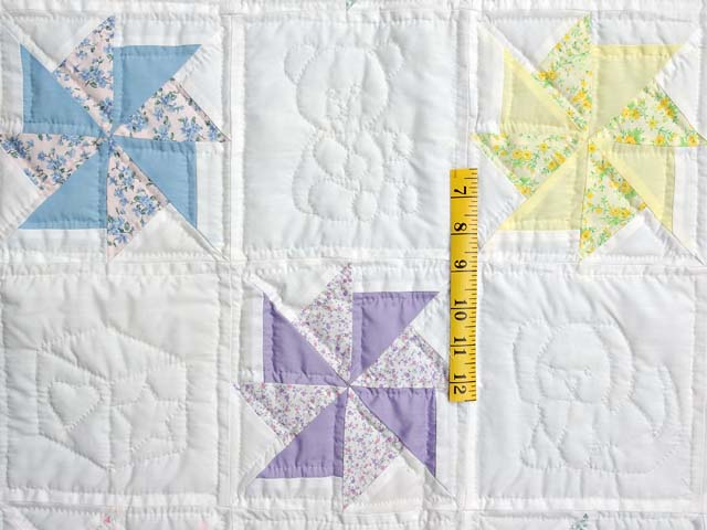 Pastel Lavender and Multicolor Pinwheels Crib Quilt Photo 3