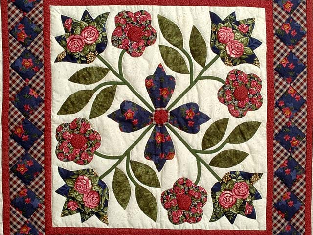 Rose Navy and Sage Green Spring Flower Wall Hanging Photo 2