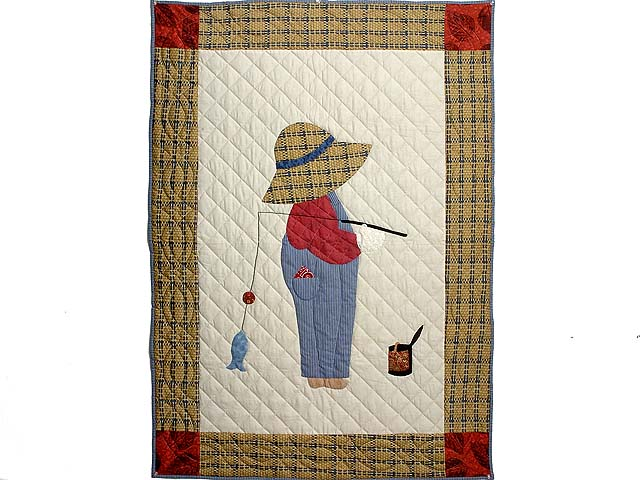 Tan Red and Navy  Fisher Boy Applique Crib Quilt Photo 1