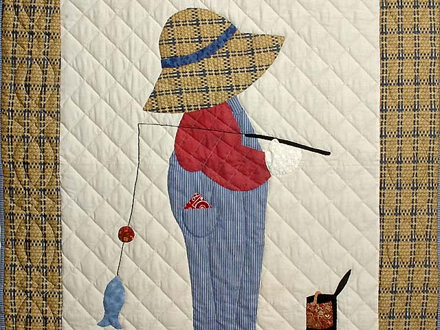 Tan Red and Navy  Fisher Boy Applique Crib Quilt Photo 2