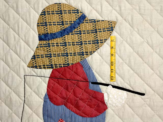 Tan Red and Navy  Fisher Boy Applique Crib Quilt Photo 3