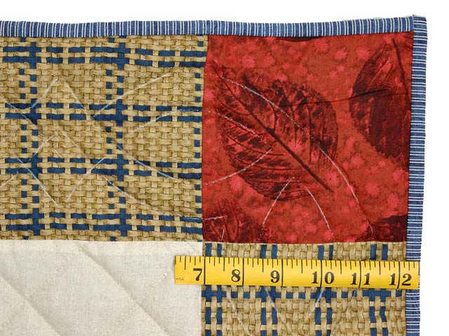 Tan Red and Navy  Fisher Boy Applique Crib Quilt Photo 5