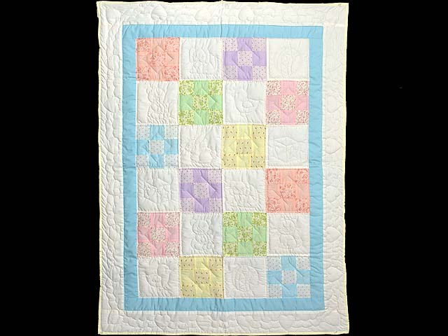 Pastel Blue and Multi Nine Patch Crib Quilt Photo 1