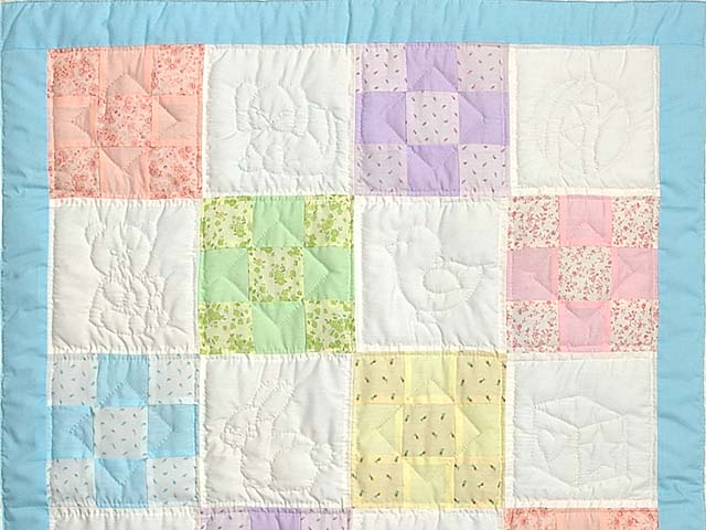 Pastel Blue and Multi Nine Patch Crib Quilt Photo 2