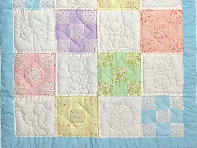 Pastel Blue and Multi Nine Patch Crib Quilt Photo 3