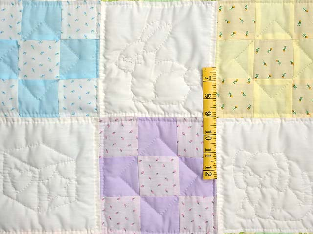 Pastel Blue and Multi Nine Patch Crib Quilt Photo 4