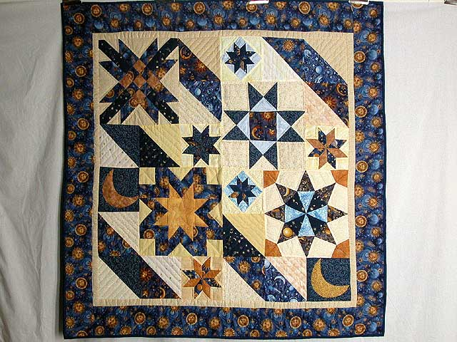 Moon and Stars Patchwork Wall Hanging Photo 1