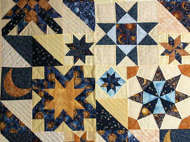 Moon and Stars Patchwork Quilt -- exquisite skillfully made Amish Quilts from Lancaster (wh268)