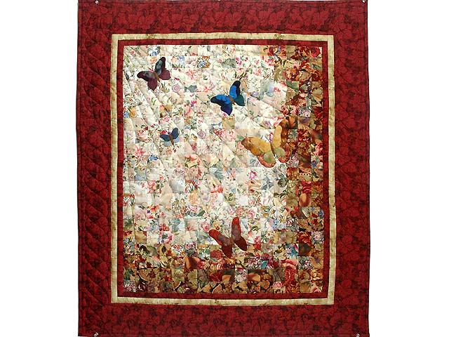 Maple Red and Gold Watercolor The Journey Butterfly Wall Hanging Photo 1