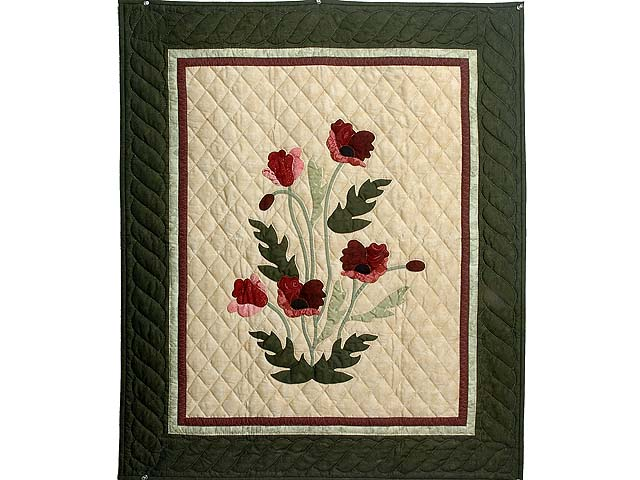 Dark Moss and Burgundy Poppy Fields Wall Hanging Photo 1