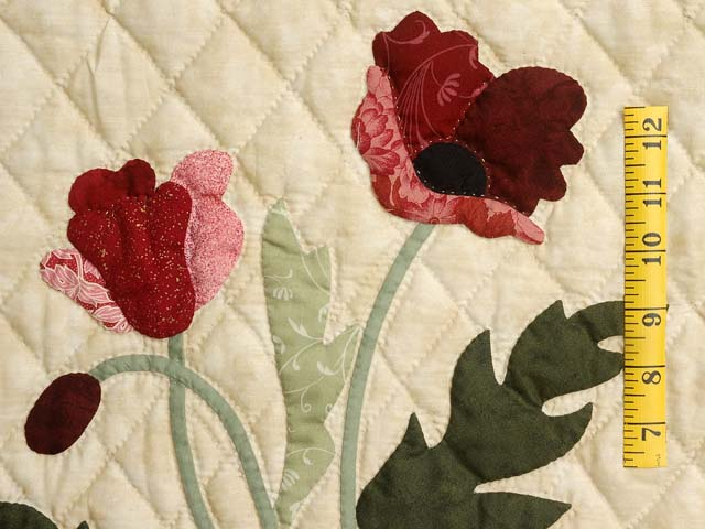 Dark Moss and Burgundy Poppy Fields Wall Hanging Photo 3