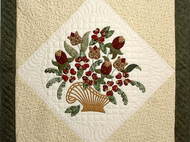 Moss Burgundy and Gold Victorian Basket Throw Photo 2