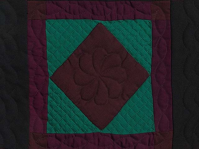 Amish Woolen Center Diamond Miniature Quilt Photo 2