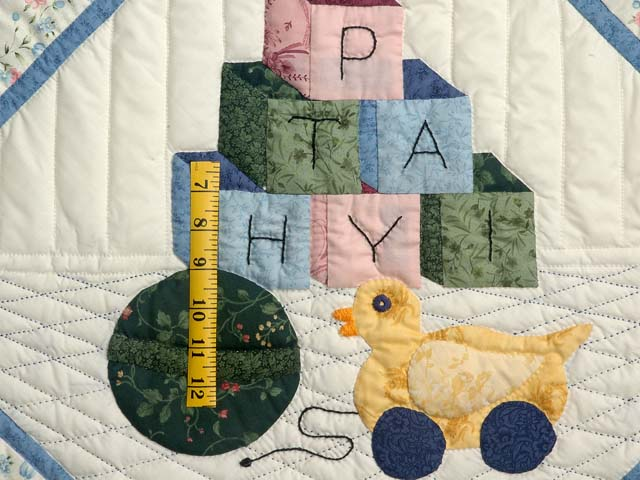 Pastel Blue ABC Crib Quilt Photo 3