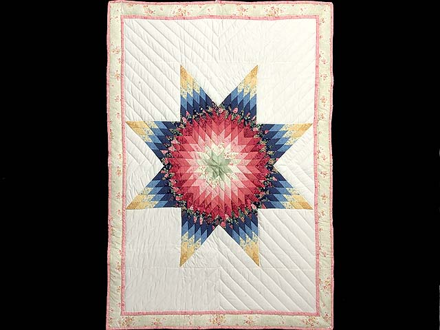 Rose and Multicolor Lone Star Crib Quilt Photo 1