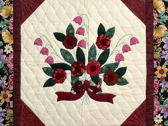 Rose Burgundy and Green Rose of Sharon Wall Hanging Photo 2