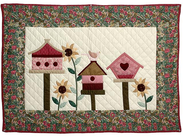 Raspberry and Green Bird Houses Wall Hanging Photo 1