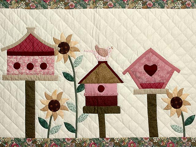 Raspberry and Green Bird Houses Wall Hanging Photo 2