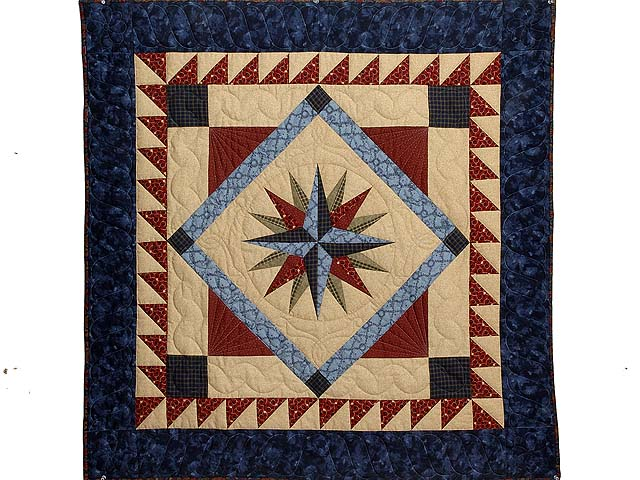 Navy Blue and Burgundy Mariners Compass with Geese Throw Photo 1