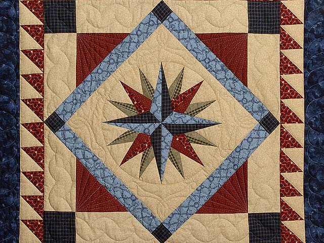 Navy Blue and Burgundy Mariners Compass with Geese Throw Photo 2