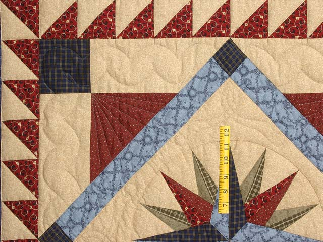 Navy Blue and Burgundy Mariners Compass with Geese Throw Photo 3