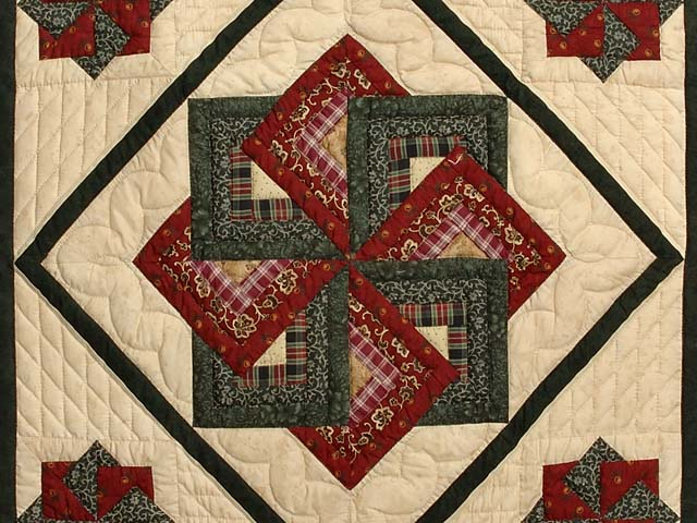 Burgundy Green and Tan Star Spin Wall Hanging Photo 2
