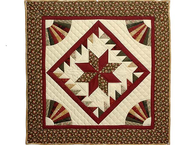 Burgundy and Earth Tones Star Medallion Wall Hanging Photo 1
