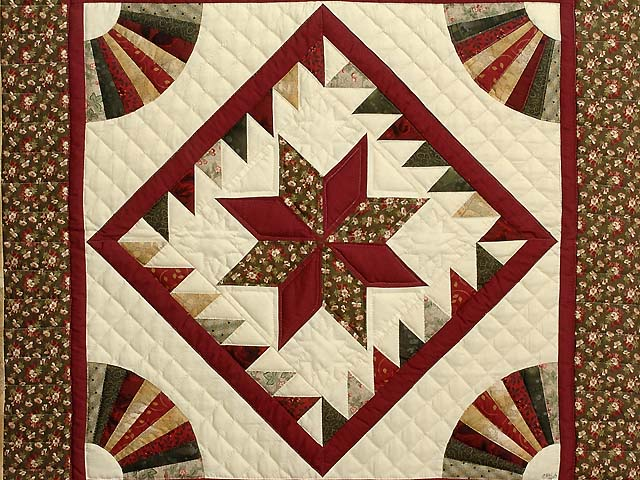 Burgundy and Earth Tones Star Medallion Wall Hanging Photo 2