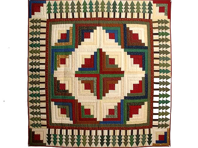 Red  Green and Multi  Log Cabin in the Woods Throw Photo 1