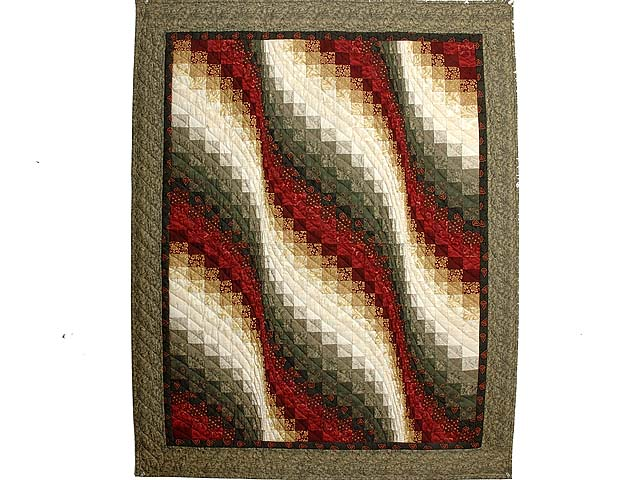 Moss  Red and Gold Bargello Wave Wall Hanging Photo 1