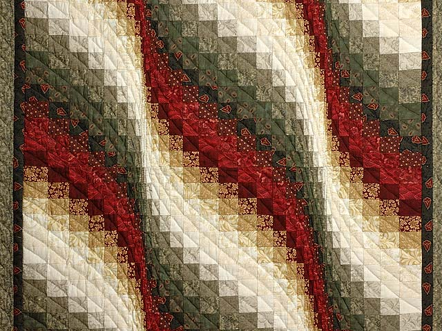 Moss  Red and Gold Bargello Wave Wall Hanging Photo 2