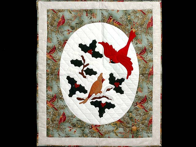 Frosty Teal Christmas Cardinals Applique Wall Hanging Photo 1