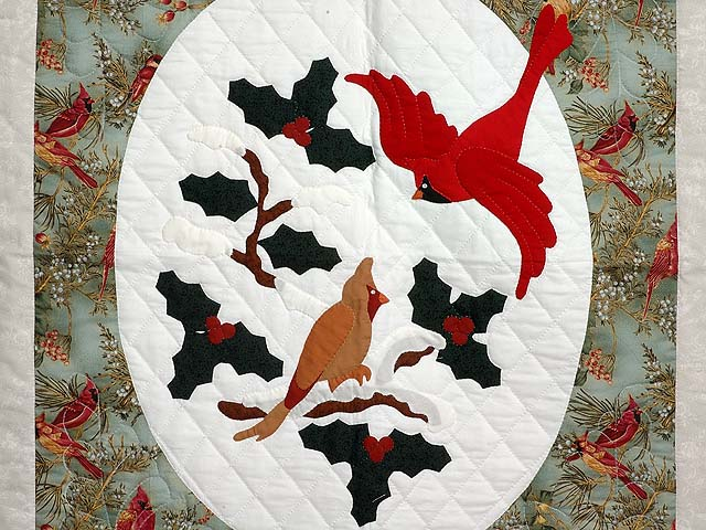 Frosty Teal Christmas Cardinals Applique Wall Hanging Photo 2