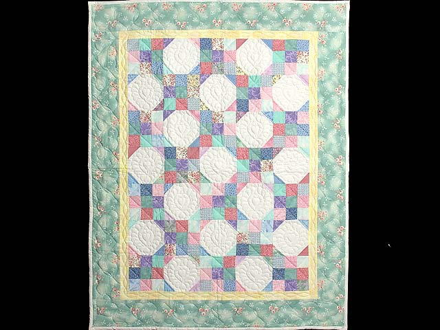 Light Green and Pastel Snowball Crib Quilt Photo 1