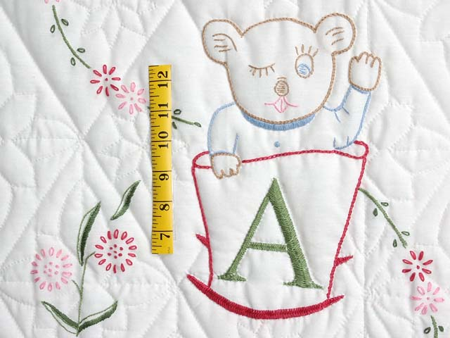 Bear BABY Embroidered Crib Quilt Photo 4