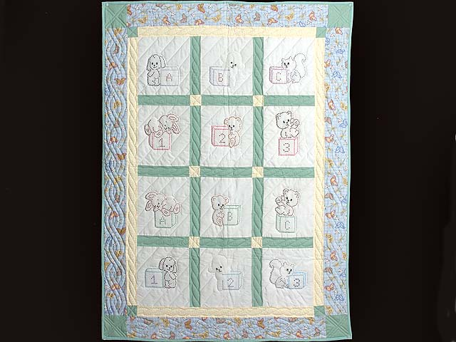 Pastel Green and Blue Embroidered Baby Animals Crib Quilt Photo 1