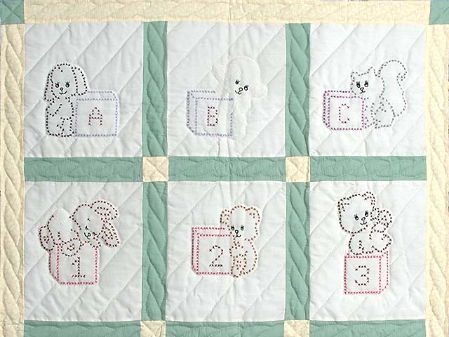 Pastel Green and Blue Embroidered Baby Animals Crib Quilt Photo 2