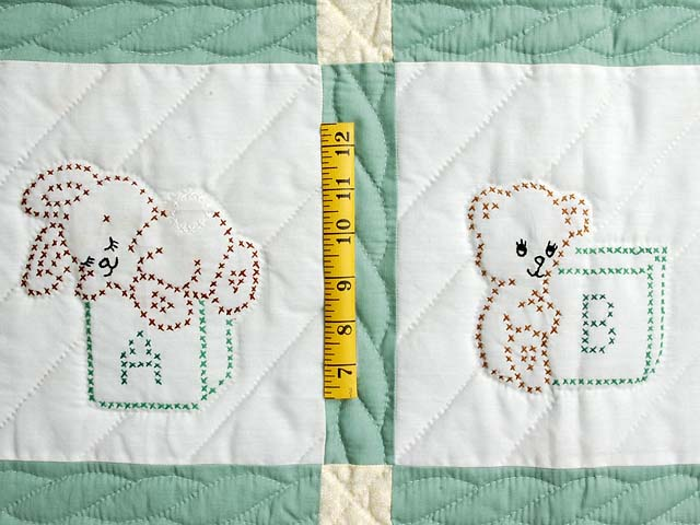 Pastel Green and Blue Embroidered Baby Animals Crib Quilt Photo 4