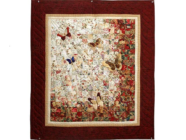 Burgundy and Gold Watercolor The Journey Butterfly Wall Hanging Photo 1
