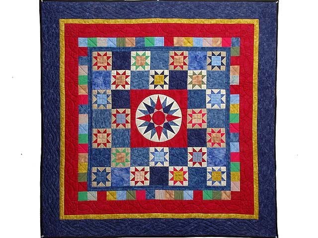 Hand-Dyed Compass Ohio Star Checkerboard Throw Photo 1
