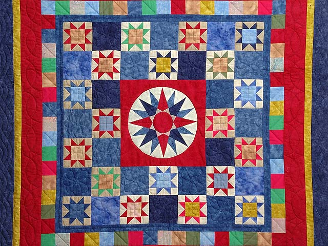 Hand-Dyed Compass Ohio Star Checkerboard Throw Photo 2
