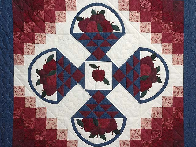 Burgundy and Blue Apple Basket Wall Hanging Photo 2