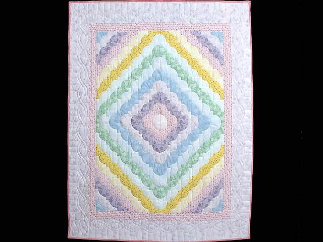 Pastel Pink Lavender and Multicolor Ocean Wave Crib Quilt Photo 1