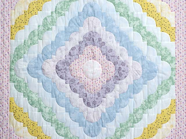 Pastel Pink Lavender and Multicolor Ocean Wave Crib Quilt Photo 2