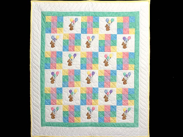 Teddy and Nine Patch Crib Quilt Photo 1
