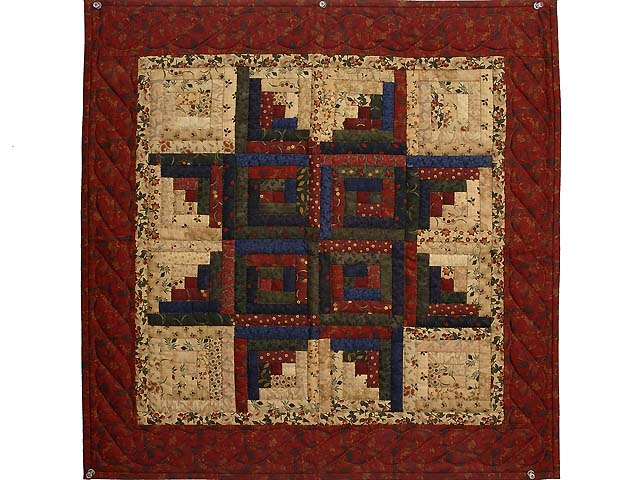 Burgundy Tan and Multicolor Log Cabin Star Wall Hanging Photo 1