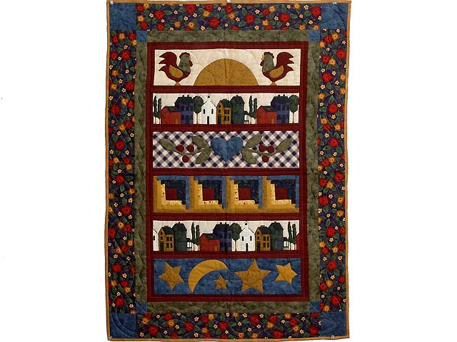 Burgundy Navy and Gold  Village Sampler Wall Hanging Photo 1