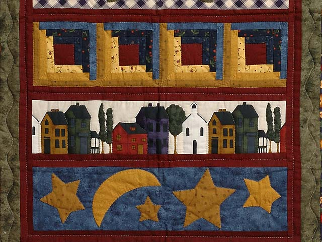 Burgundy Navy and Gold  Village Sampler Wall Hanging Photo 3