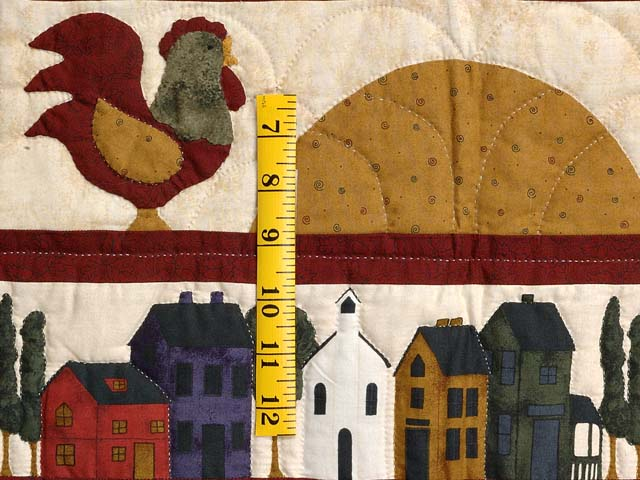 Burgundy Navy and Gold  Village Sampler Wall Hanging Photo 4
